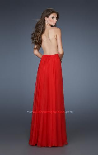 Picture of: One Shoulder Gown with Gathered Detail and Sheer Back, Style: 18466, Back Picture