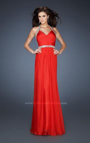 Picture of: Halter Top Prom Dress with Beaded Detail and Gathering, Style: 18476, Detail Picture 2
