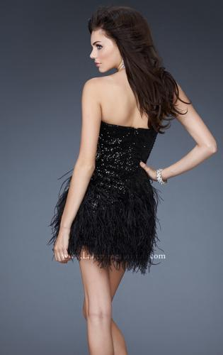 Picture of: Sequined Cocktail Dress with Sheer Detail and Feather Skirt, Style: 18489, Back Picture