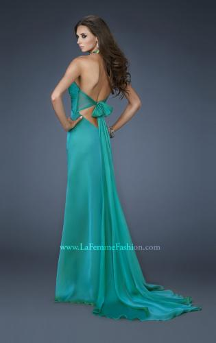 Picture of: Chiffon Halter Gown with Rhinestones and Open Back, Style: 18490, Back Picture