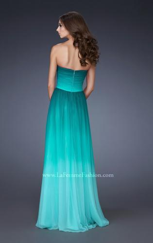 Picture of: Strapless Long Chiffon Dress with Ombre Print, Style: 18497, Back Picture