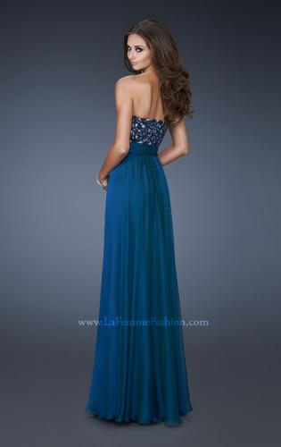 Picture of: A-line Chiffon Gown with Sequin Bodice and Beading, Style: 18581, Back Picture