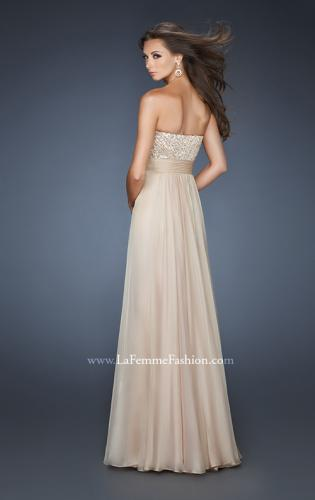 Picture of: Strapless Empire Chiffon Gown with Ruched Sequin Pattern, Style: 18584, Back Picture