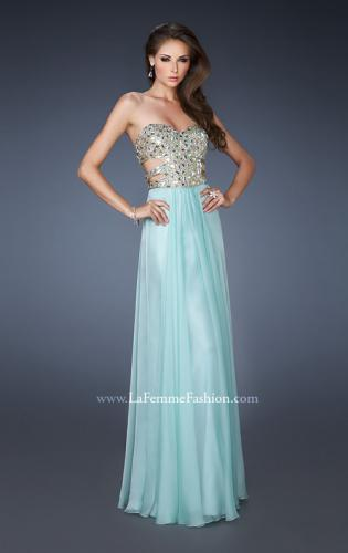 Picture of: Stone Embellished Prom Dress with Sequins and Cut Outs, Style: 18602, Detail Picture 1