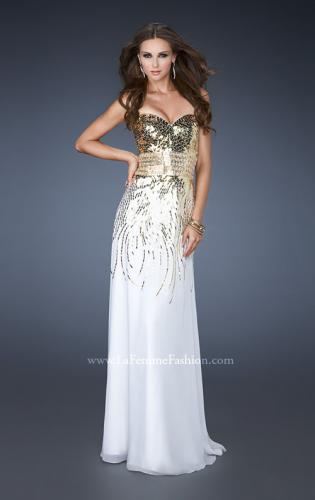 Picture of: Fitted Strapless Dress with Metallic Sequin Detail, Style: 18603, Main Picture