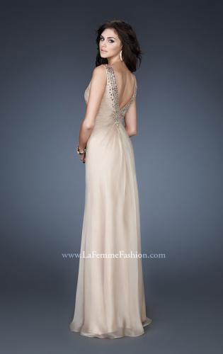 Picture of: Chiffon V Neck Prom Gown with Iridescent Stone Detail, Style: 18604, Back Picture