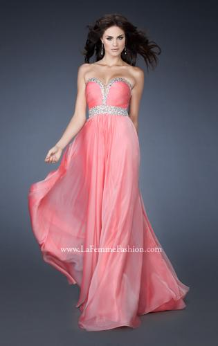Picture of: Long Prom Dress with Gem Bordered Neckline and Beads, Style: 18609, Main Picture