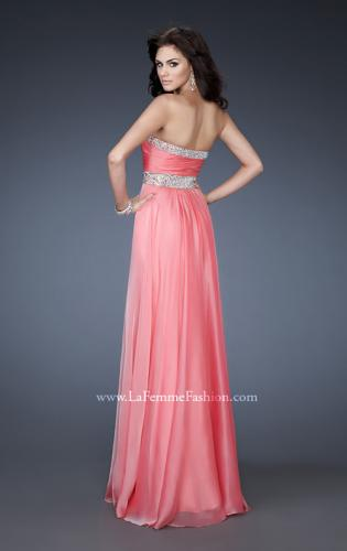 Picture of: Long Prom Dress with Gem Bordered Neckline and Beads, Style: 18609, Back Picture
