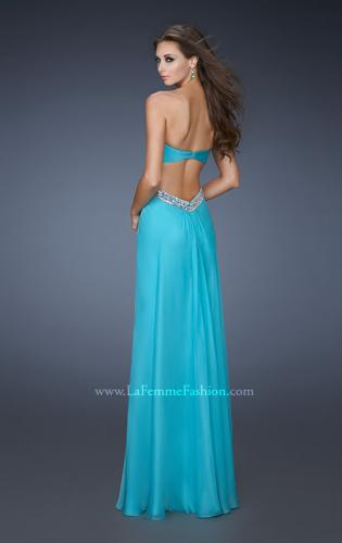 Picture of: Strapless Chiffon Dress with Cut Outs and Beaded Trim, Style: 18619, Back Picture