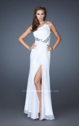 Picture of: Embellished One Shoulder Chiffon Dress with Belt and Slit, Style: 18635, Main Picture