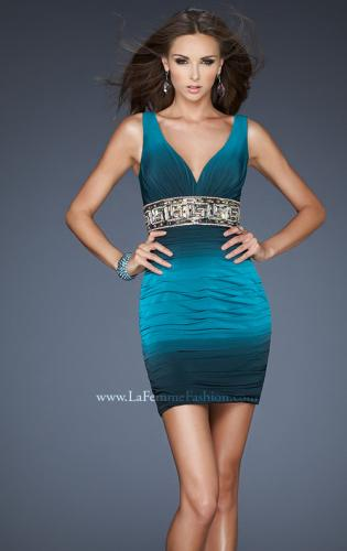 Picture of: Empire Waist V Neck Cocktail Dress with Beaded Belt, Style: 18703, Main Picture