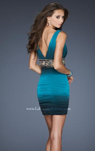 Picture of: Empire Waist V Neck Cocktail Dress with Beaded Belt, Style: 18703, Back Picture