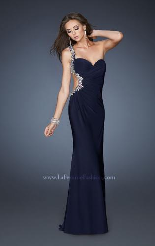 Picture of: Long One Shoulder Gown with Open Back and Beads, Style: 18783, Back Picture