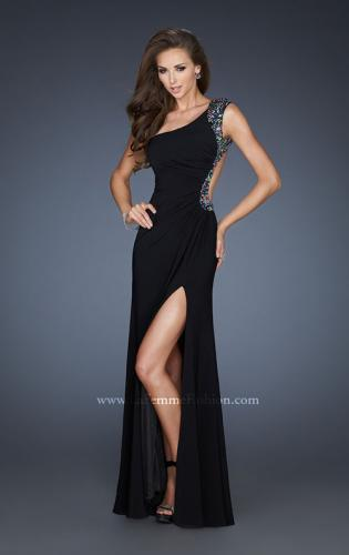 Picture of: Sexy One Shoulder Prom Dress with Front Slit and Open Back, Style: 18805, Back Picture