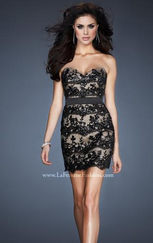 Picture of: Sequined Lace Cocktail Dress with Satin Belt Detail, Style: 18808, Main Picture