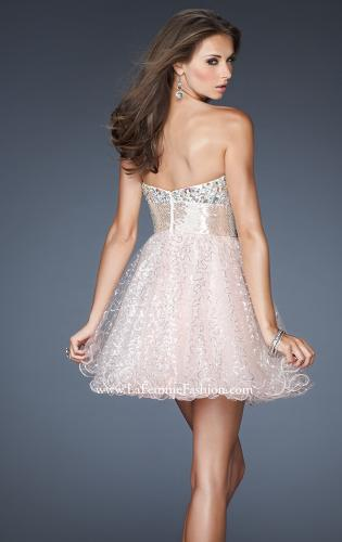 Picture of: Short A-line Prom Dress with Metallic Beaded Bodice, Style: 18902, Back Picture
