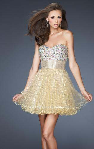Picture of: Short A-line Prom Dress with Metallic Beaded Bodice, Style: 18902, Detail Picture 1