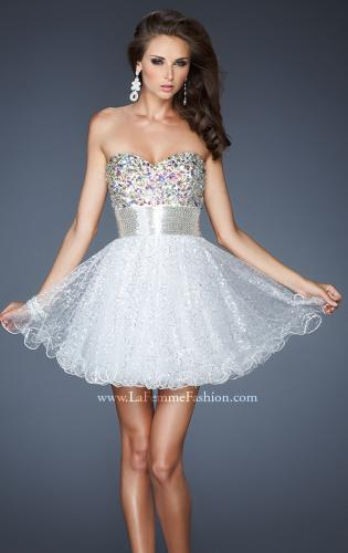 Picture of: Short A-line Prom Dress with Metallic Beaded Bodice, Style: 18902, Detail Picture 2