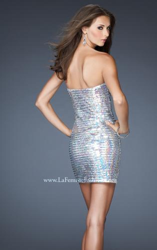Picture of: Short Strapless Fitted Dress with Metallic Embellishment, Style: 18943, Back Picture