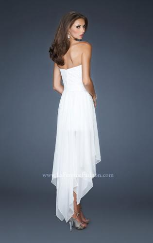 Picture of: Strapless High Low Chiffon Dress with Fitted Bodice, Style: 18970, Back Picture