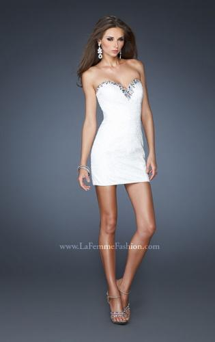 Picture of: Strapless High Low Chiffon Dress with Fitted Bodice, Style: 18970, Detail Picture 1