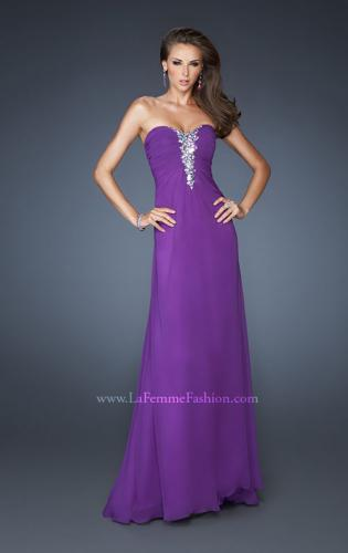 Picture of: Long Strapless Chiffon Gown with Embellished Detail, Style: 19009, Main Picture