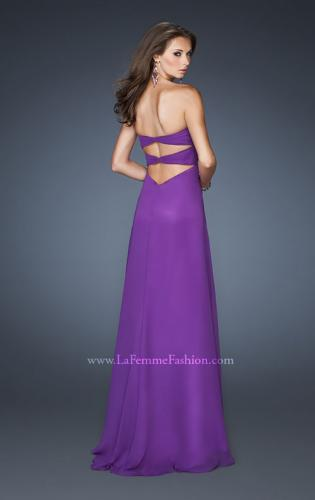 Picture of: Long Strapless Chiffon Gown with Embellished Detail, Style: 19009, Back Picture