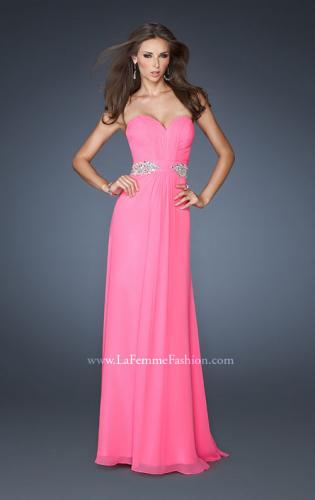 Picture of: Strapless Long Chiffon Prom Gown with Pleated Bodice, Style: 19012, Main Picture