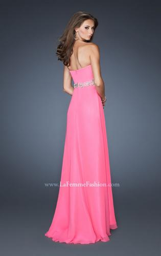 Picture of: Strapless Long Chiffon Prom Gown with Pleated Bodice, Style: 19012, Back Picture