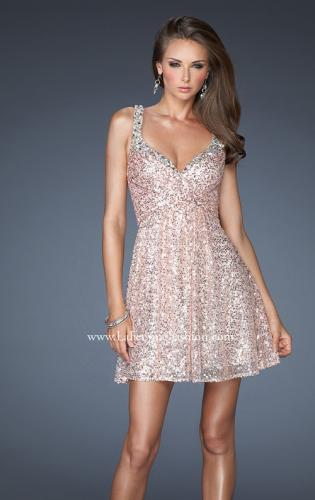 Picture of: Short Sequin Dress with Metallic Beaded Trim, Style: 19096, Main Picture