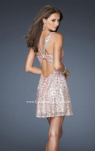 Picture of: Short Sequin Dress with Metallic Beaded Trim, Style: 19096, Back Picture