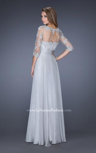 Picture of: Long Chiffon Dress with Illusion Beaded Lace Sleeves, Style: 19137, Back Picture