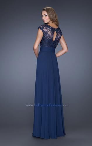 Picture of: A-line Chiffon Dress with Sheer Illusion Lace Cap Sleeves, Style: 19142, Back Picture