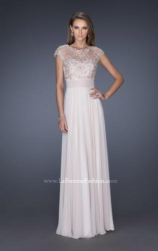 Picture of: A-line Chiffon Dress with Sheer Illusion Lace Cap Sleeves, Style: 19142, Detail Picture 1