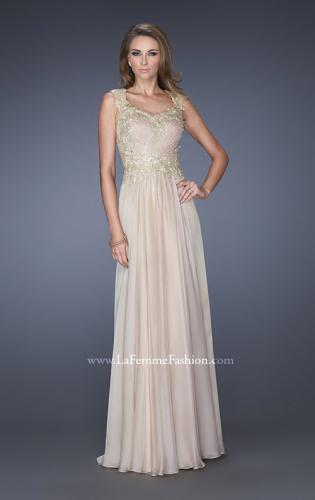 Picture of: Long Chiffon Dress with Embellished Lace on Bodice, Style: 19146, Main Picture