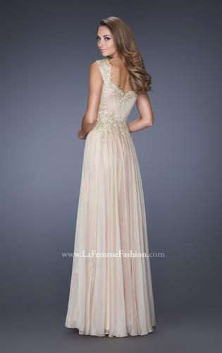 Picture of: Long Chiffon Dress with Embellished Lace on Bodice, Style: 19146, Back Picture