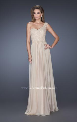 Picture of: One Shoulder Chiffon Prom Dress with Embellished Lace Bodice, Style: 19162, Main Picture