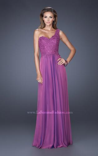 Picture of: One Shoulder Chiffon Prom Dress with Embellished Lace Bodice, Style: 19162, Detail Picture 1
