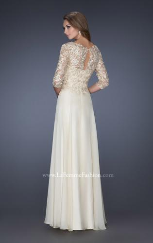 Picture of: Long Chiffon Dress with Lace Bodice and Illusion Sleeves, Style: 19171, Back Picture