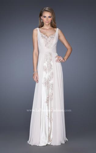 Picture of: Long Chiffon Prom Gown with Lace Panel Detail, Style: 19181, Main Picture