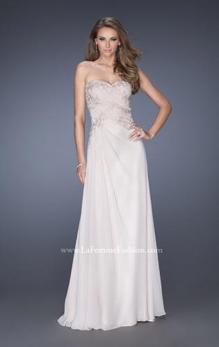 Picture of: Strapless Chiffon Long Prom Gown with Lace Applique, Style: 19183, Main Picture