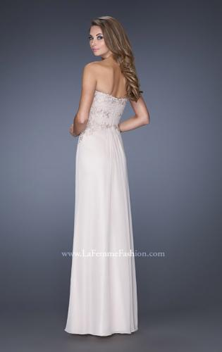 Picture of: Strapless Chiffon Long Prom Gown with Lace Applique, Style: 19183, Back Picture
