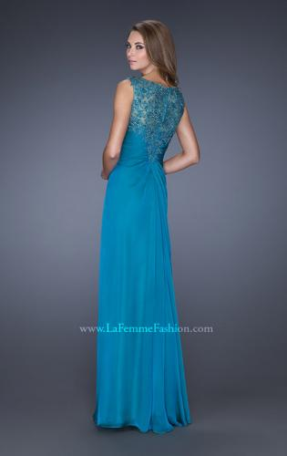 Picture of: Long Chiffon Prom Gown with Lace Embellished Neckline, Style: 19203, Back Picture