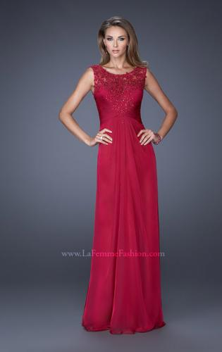 Picture of: Long Chiffon Prom Gown with Lace Embellished Neckline, Style: 19203, Detail Picture 1