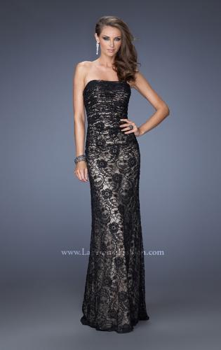 Picture of: Strapless Lace Long Dress with Ruched Bodice, Style: 19210, Main Picture