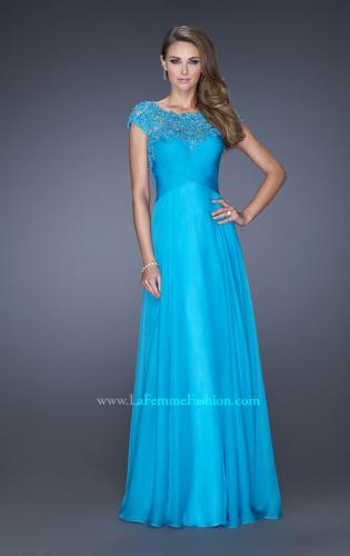 Picture of: Long Prom Dress with Fitted Bodice and Illusion Sleeves, Style: 19232, Main Picture