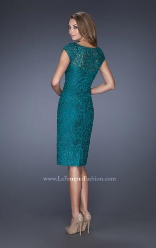 Picture of: Short Prom Dress with Cap Sleeve and Beaded Lace, Style: 19243, Back Picture