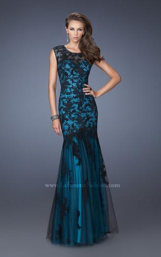 Picture of: Fitted Mermaid Prom Dress with Contrasting Lace, Style: 19264, Main Picture