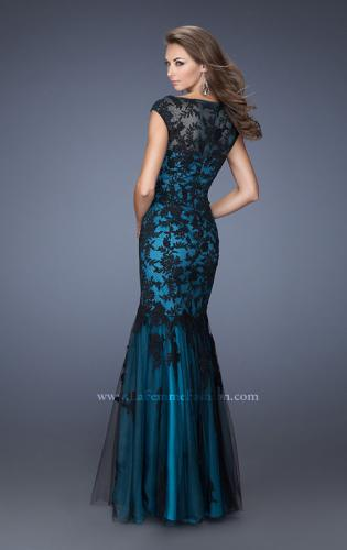 Picture of: Fitted Mermaid Prom Dress with Contrasting Lace, Style: 19264, Back Picture