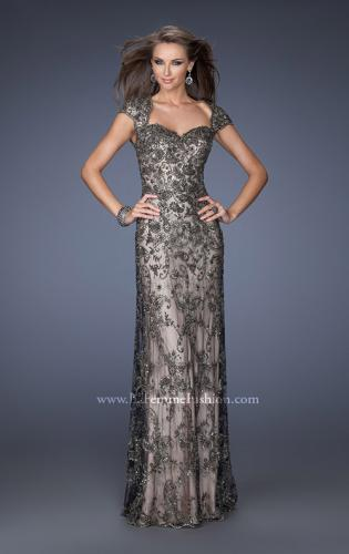 Picture of: Long Beaded Prom Gown with Nude Underlay and Cap Sleeves, Style: 19274, Main Picture